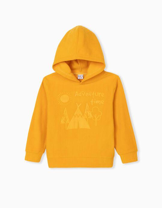 Sweatshirt Polar com Capuz, Criança, Amarelo