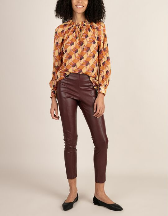Printed Blouse with Elastic