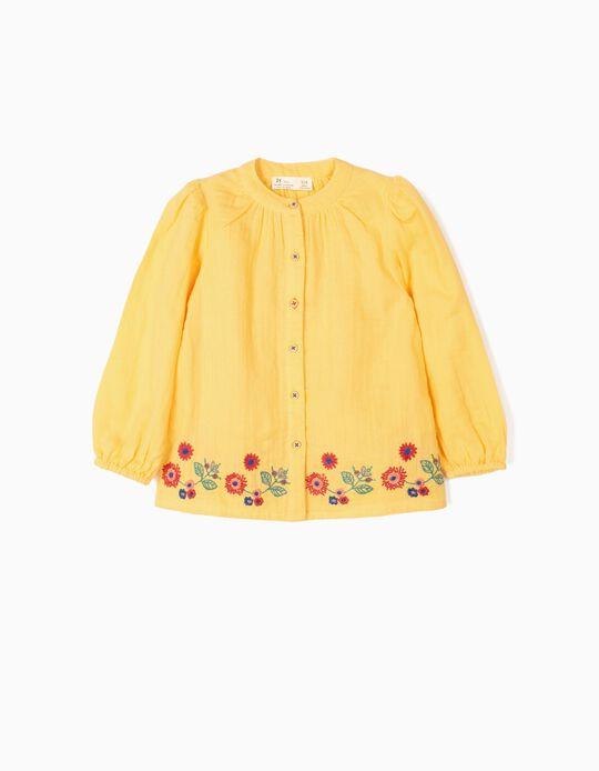 Blusa Manga Comprida para Menina 'Flores', Amarelo