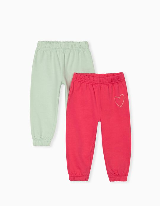 2 Pairs of Joggers for Baby Girls, Pink/Green