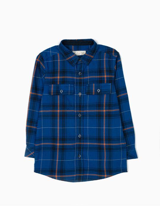 Camisa Xadrez com Bolsos Azul