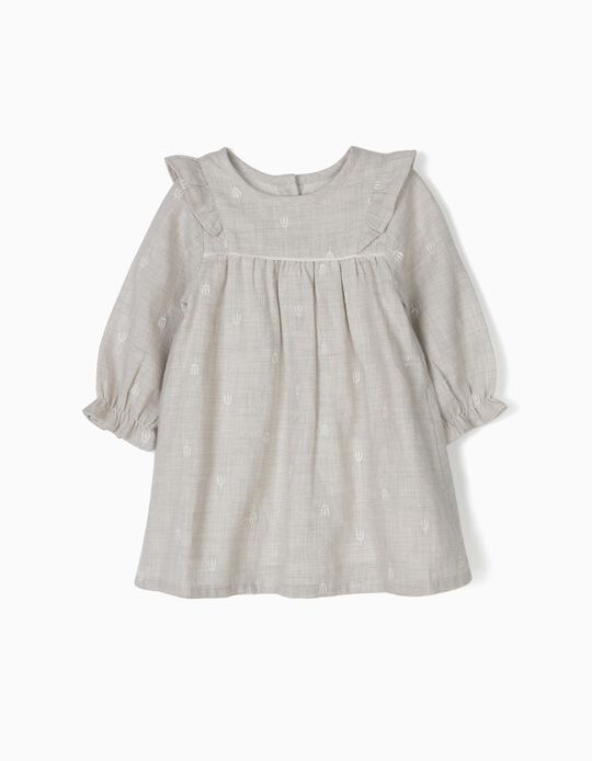 Vestido de Sarja com Tapa-Fraldas Cinza