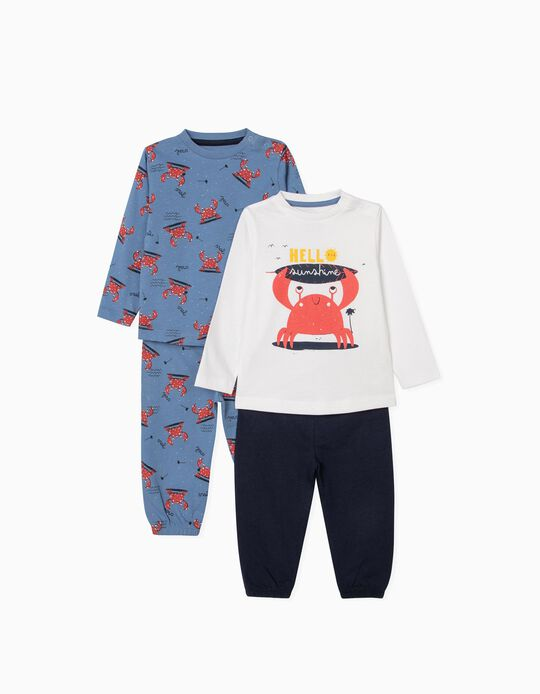 2 Pyjamas for Baby Boys, 'Sunshine', Blue/White