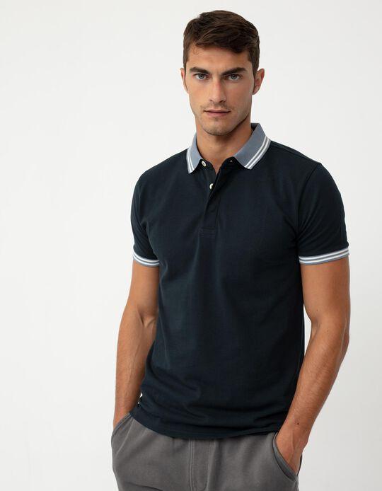 Short Sleeve PiquéKnit Polo Shirt for Men, Dark Blue