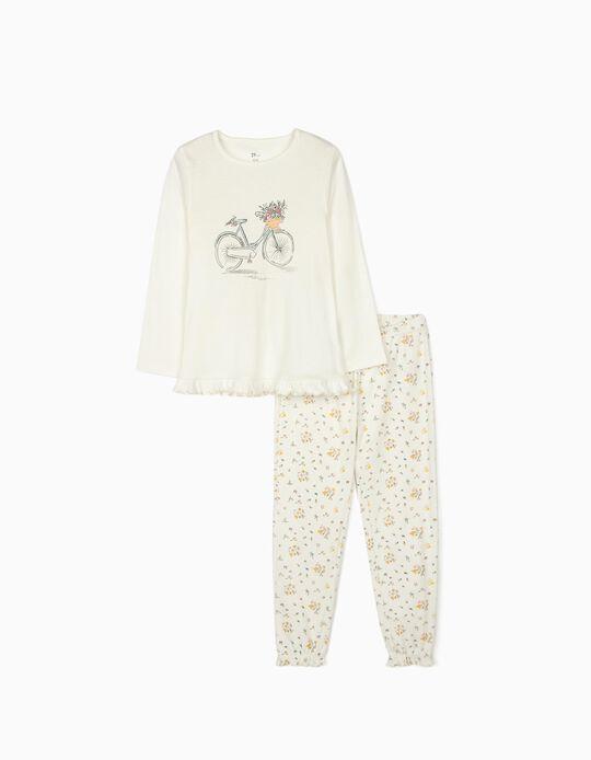 Pijama Manga Comprida para Menina 'Bicycle', Branco
