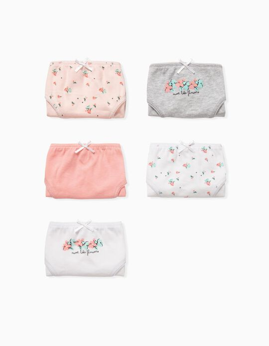 5 Briefs for Girls, 'Flowers', Pink/White/Grey