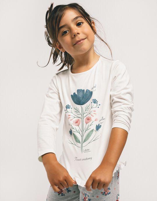T-shirt Manga Comprida para Menina 'Flower Anatomy', Branco