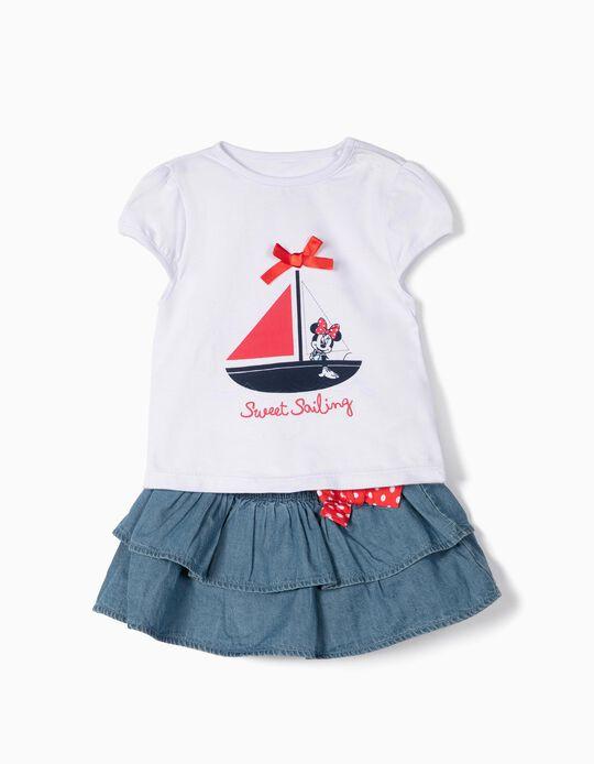 T-shirt e Saia para Bebé Menina 'Minnie', Branco e Azul