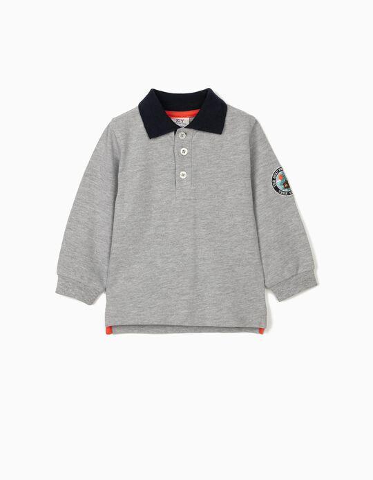 Long Sleeve Polo Shirt for Baby Boys, 'Tree House', Grey