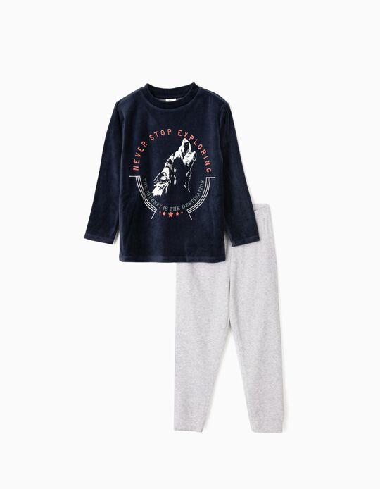 Velvet Pyjamas for Boys 'Never Stop Exploring', Blue/Grey