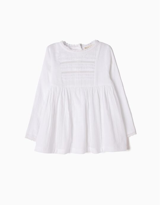 Blusa Fluida Branca com Renda