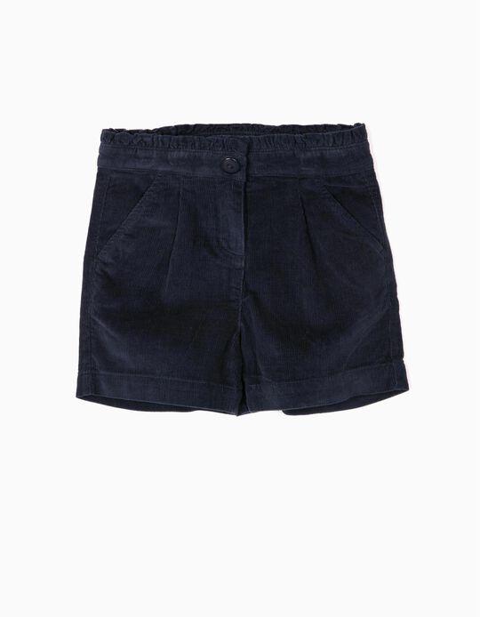 Corduroy Shorts for Girls, Dark Blue