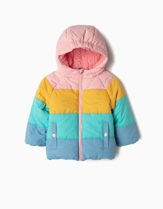 Blusão Acolchoado para Bebé Menina 'Colour Block', Multicolor