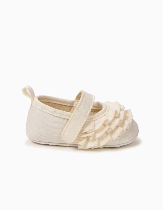 Ballerinas for Newborn Girls with Ruffles, Light Yellow