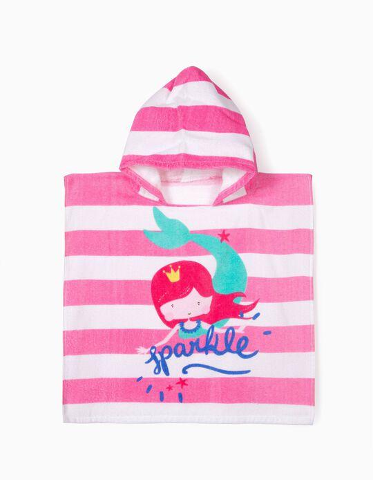 Poncho de Praia para Bebé Menina 'Mermaid', Rosa e Branco