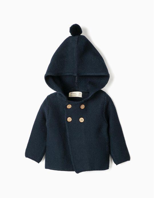 Hooded Knit Jacket for Newborn, Dark Blue