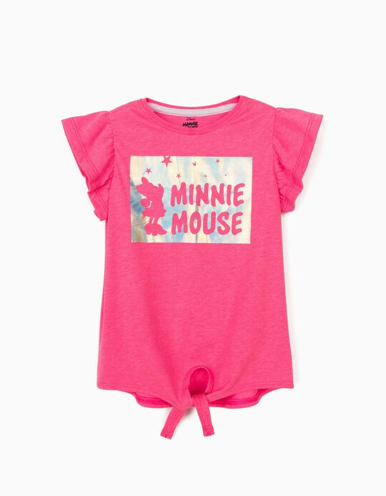 T-Shirt with Knot on the Front for Girls, 'Minnie Mouse', Pink