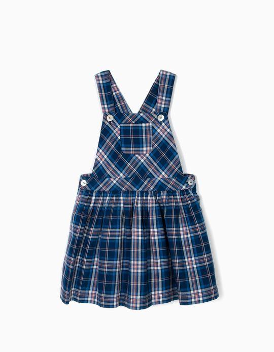 Saia de Peito para Menina Xadrez, Azul