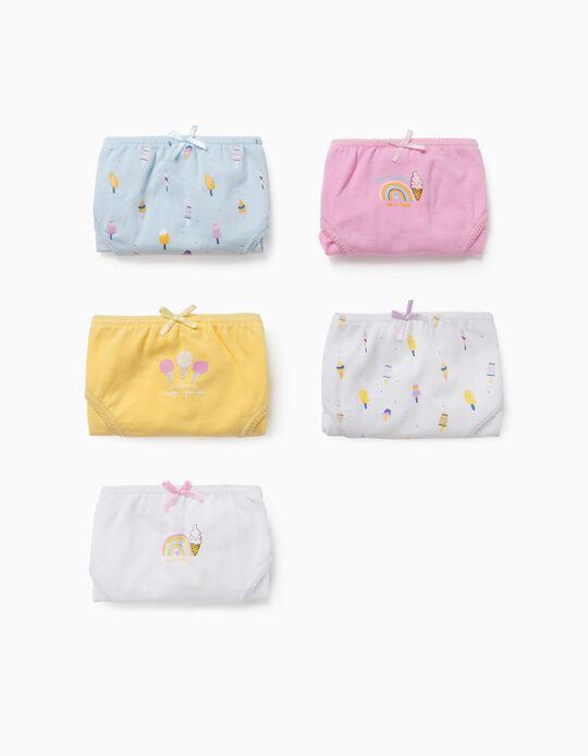 5 Briefs for Girls 'Ice Creams & Rainbows', Multicoloured