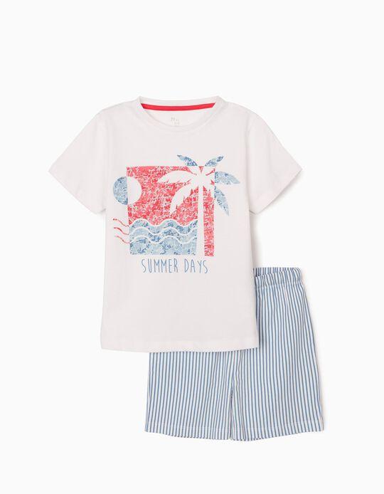 Pijama para Menino 'Summer Days', Branco/Azul