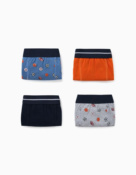 4 Boxer Shorts for Boys, 'Sports', Grey/Orange/Blue