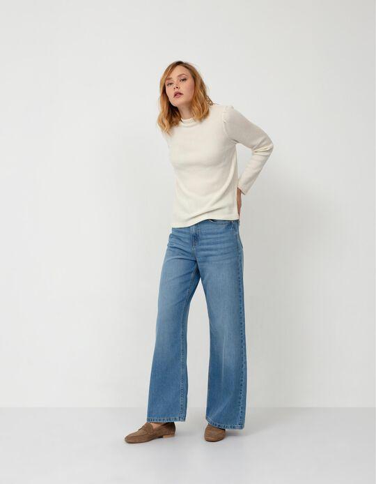 Wide Leg Jeans, Women, Light Blue