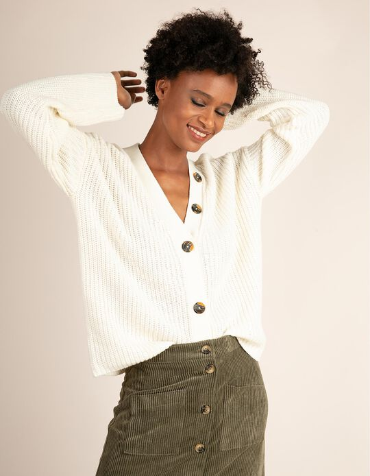Knitted cardigan with contrasting buttons