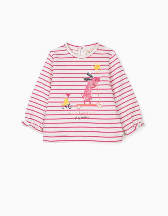 Sweatshirt para Bebé Menina' Best Buddies' Riscas, Rosa e Branco