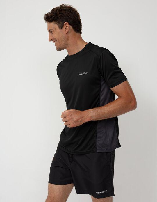 T-shirt Desporto Painéis Respiráveis, Homem, Preto