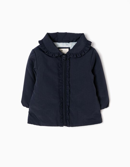Blue Padded Jacket with Frills
