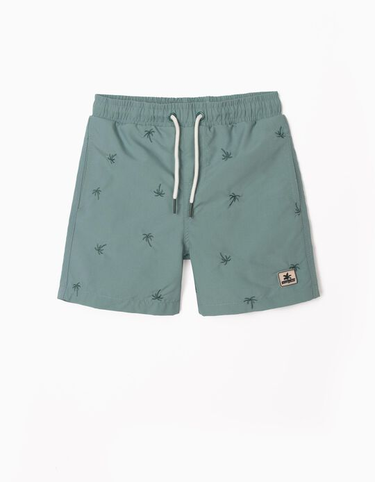 Embroidered Swim Shorts for Boys, Green