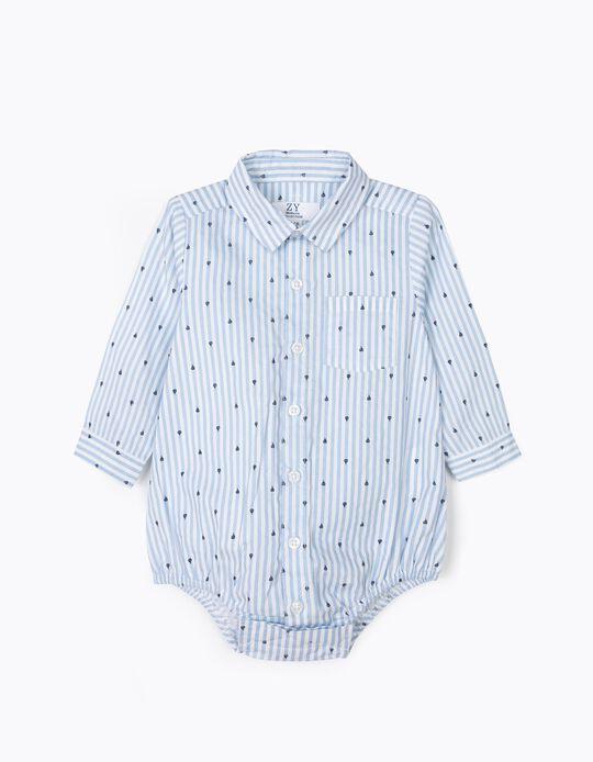 Body-Camisa para Recém-Nascido Barcos e Riscas, Azul