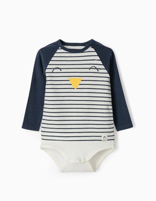 Bodysuit for Newborn Babies, 'Cute Penguin', White/Dark Blue