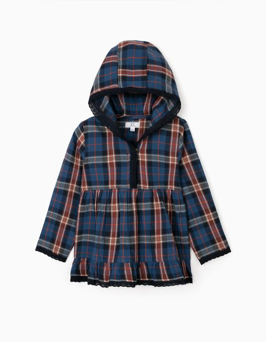 Hooded Checkered Tunic for Girls, Blue
