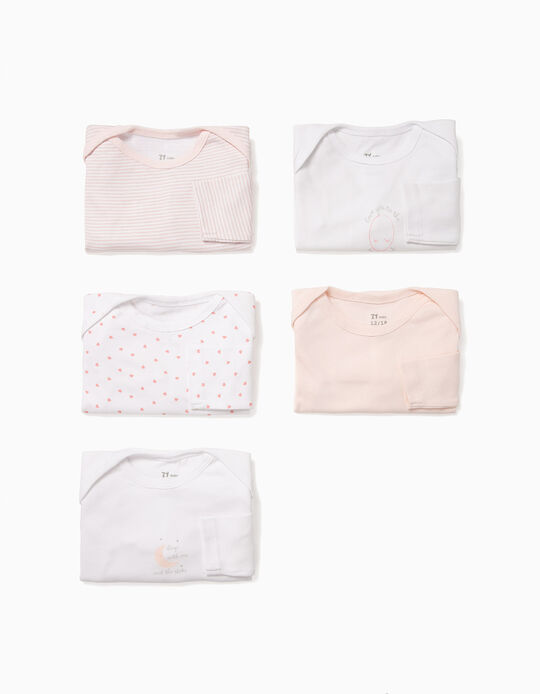5-Pack Bodysuits for Baby Girls 'Moon', White and Pink