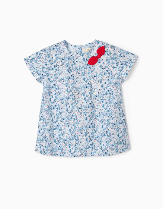 Blouse for Girls, 'Flowers' Blue/White/Red