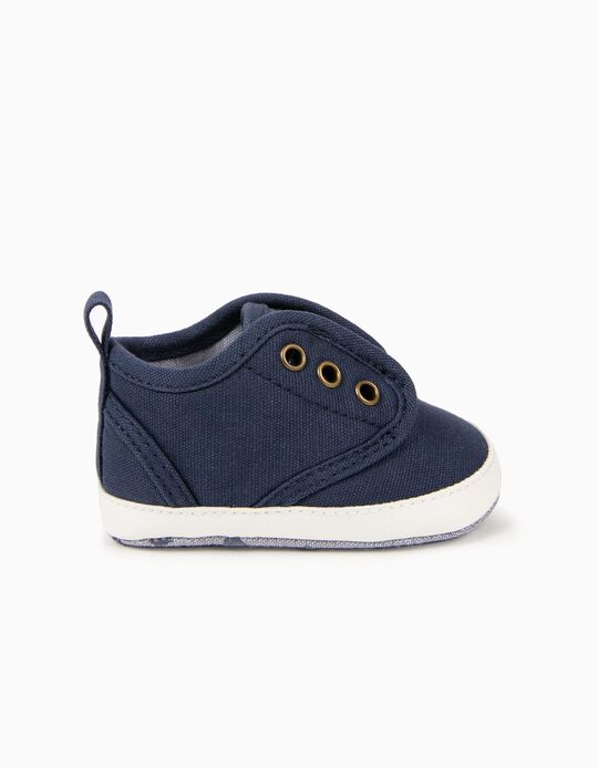 Canvas sneakers for Newborn Boys, Dark Blue