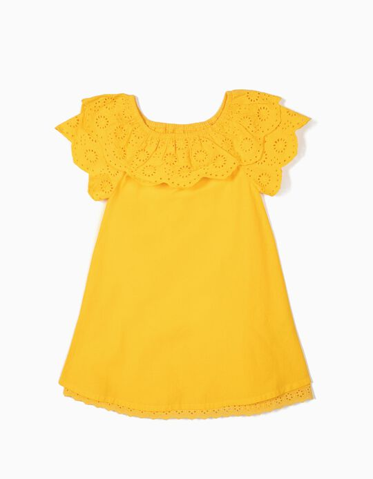 Dress with Broderie Anglaise for Girls, Yellow