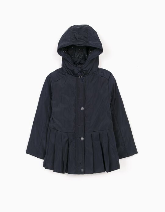 Pleated Parka for Girls, Dark Blue