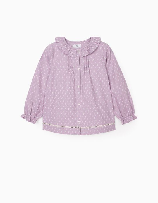 Floral Blouse for Girls, Purple