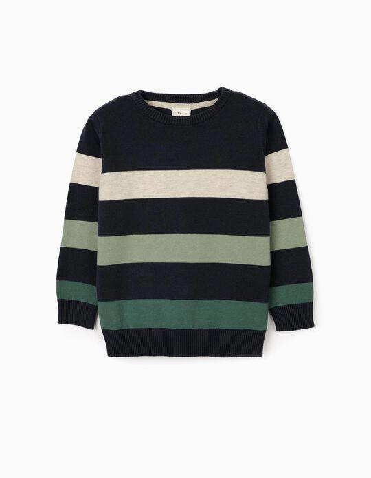 Striped Jumper for Boys, Blue/Green/Beige
