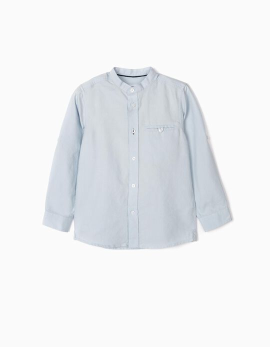Shirt with Mandarin Collar for Boys, Blue
