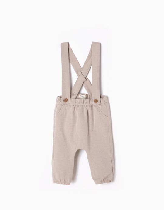 Beige Twill Trousers with Straps