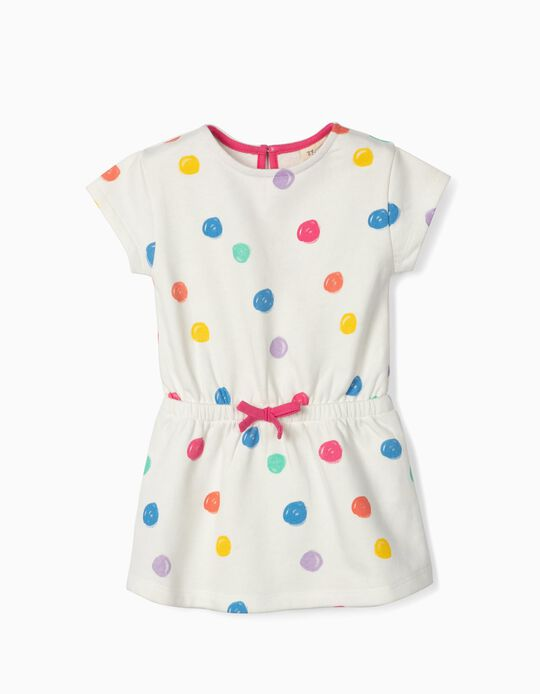 Dress for Baby Girls 'Colourful Dots', White