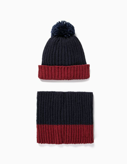 Chenille Beanie and Neck Warmer for Boys, Dark Blue/Bordeaux