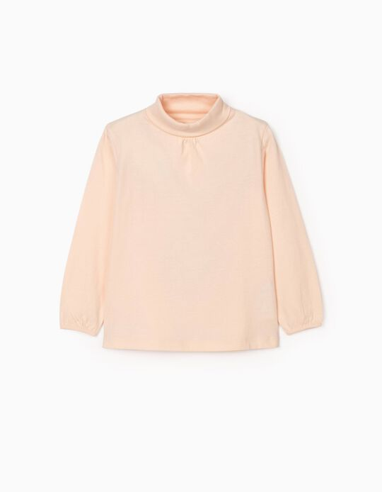 Long Sleeve T-Shirt with Turtleneck for Girls, Pink