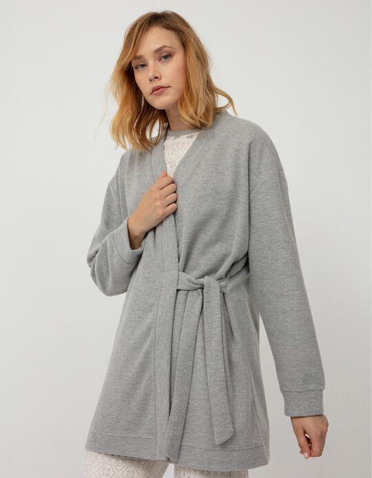 Jersey Knit Kimono Dressing Gown, Grey