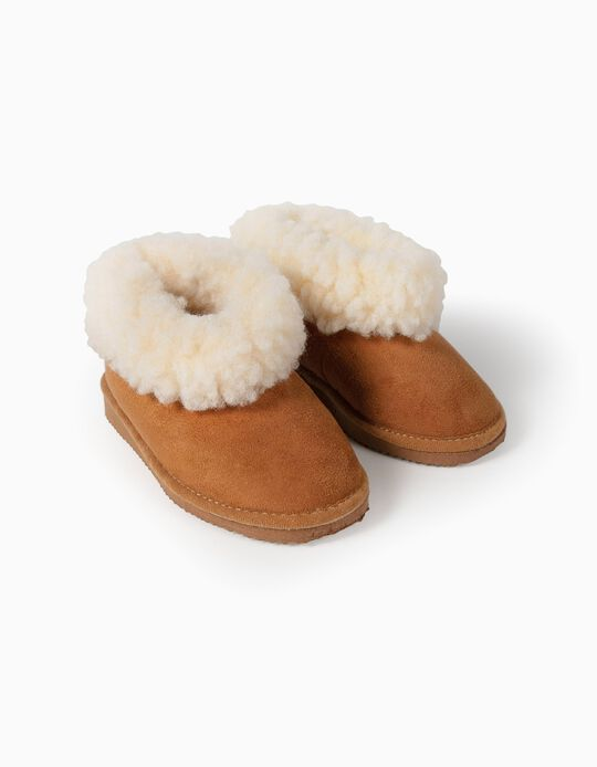 Slippers with Faux Fur for Kids, Camel