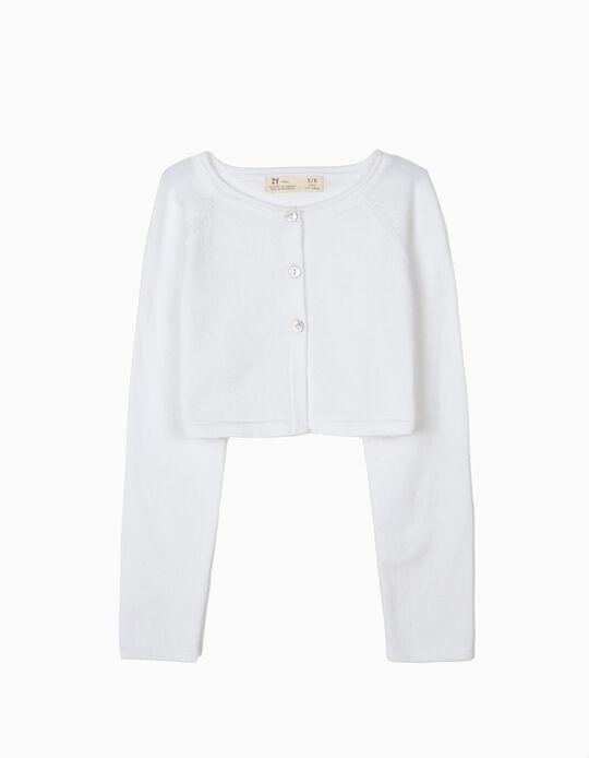 Casaco Bolero de Malha para Menina, Branco