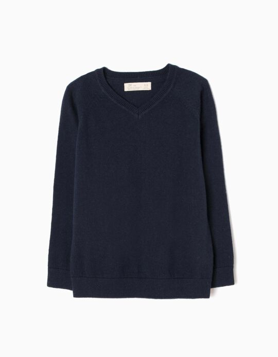 Fine Knit Jumper, Navy Blue
